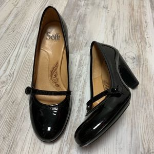 Sofft Black Patent Leather Mary Janes Heels 8.5M